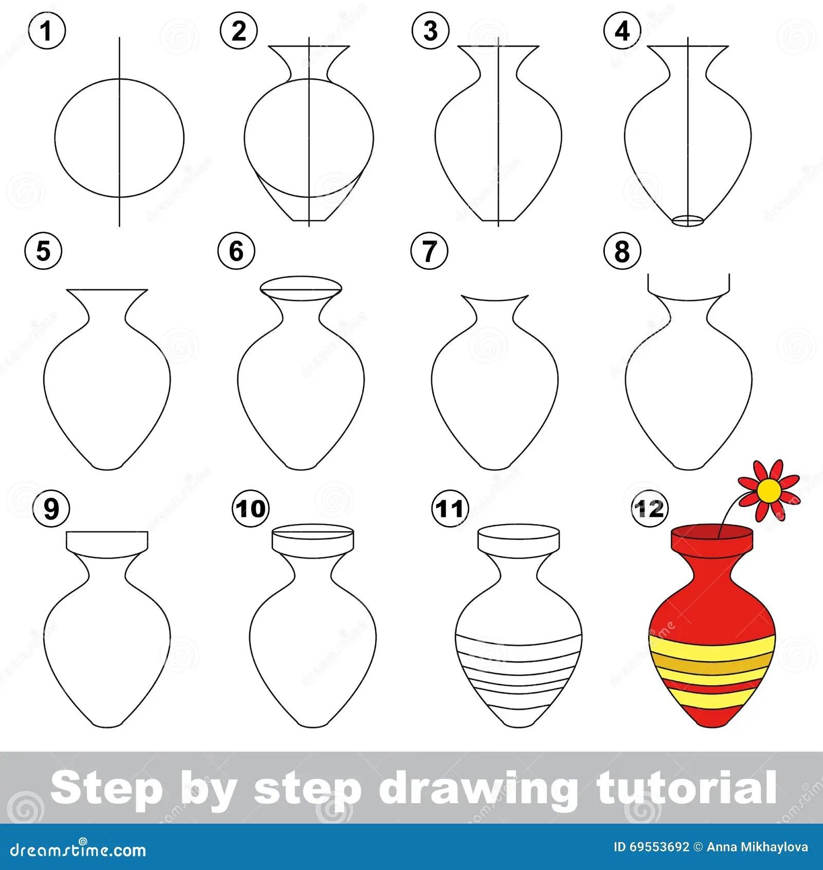 Vase Zeichnendes Tutorium Vektor Abbildung Illustration