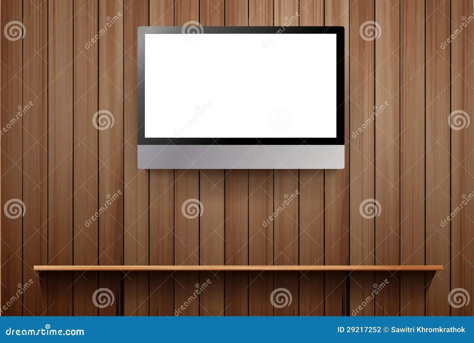 Vecteur TV Sur Le Mur En Bois Illustration De Vecteur