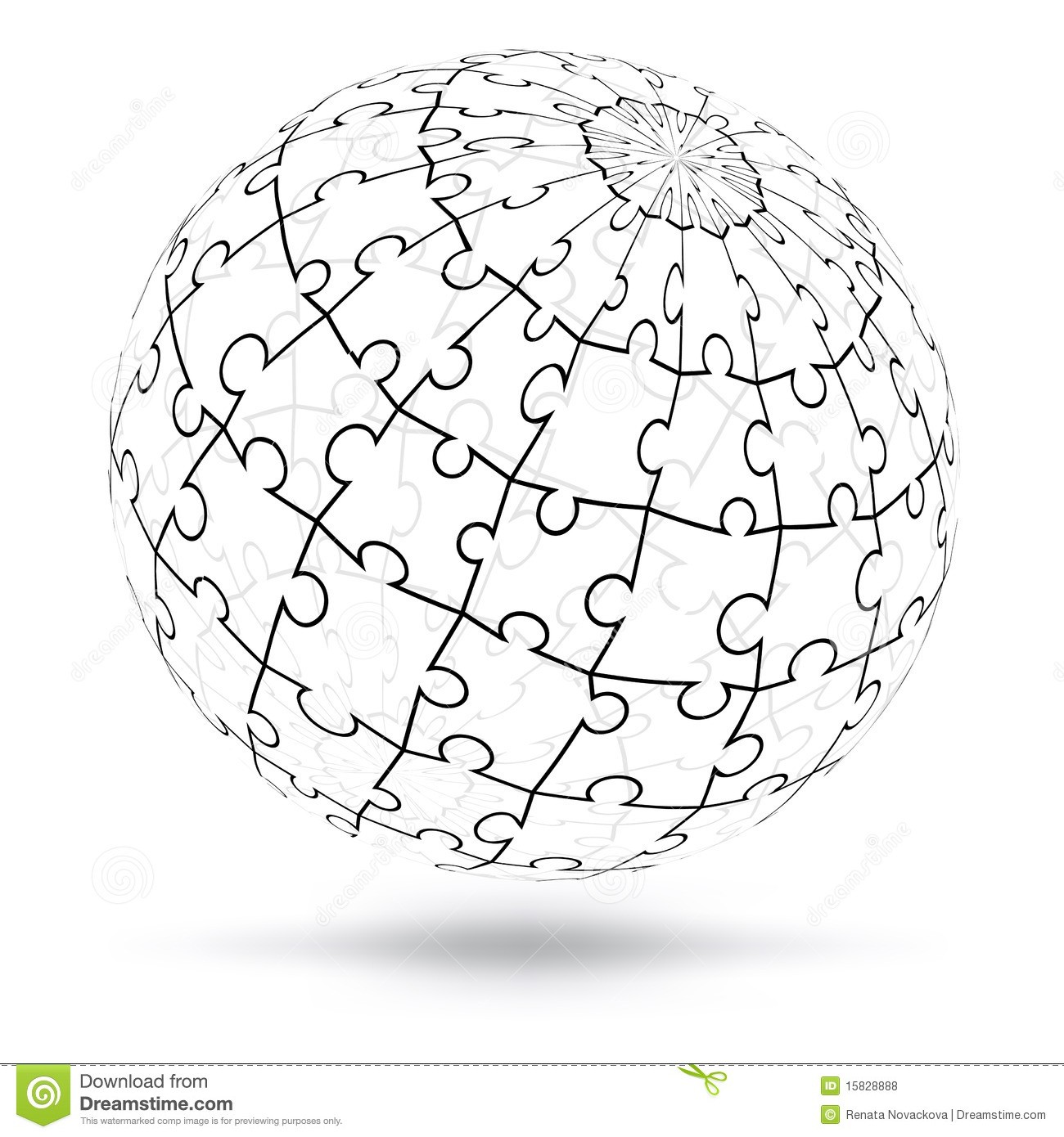 Vector 3d Puzzle Globe Stock Vector Illustration Of