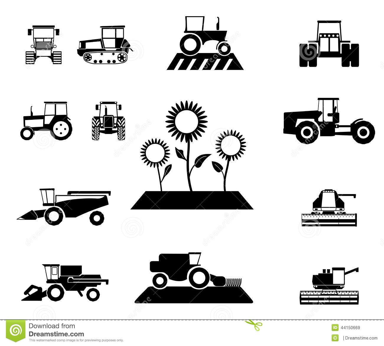 Vector Agricultural Vehicles Set Stock Illustration