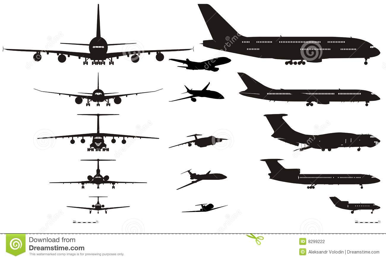 Vector Airplanes Silhouettes Set Stock Vector