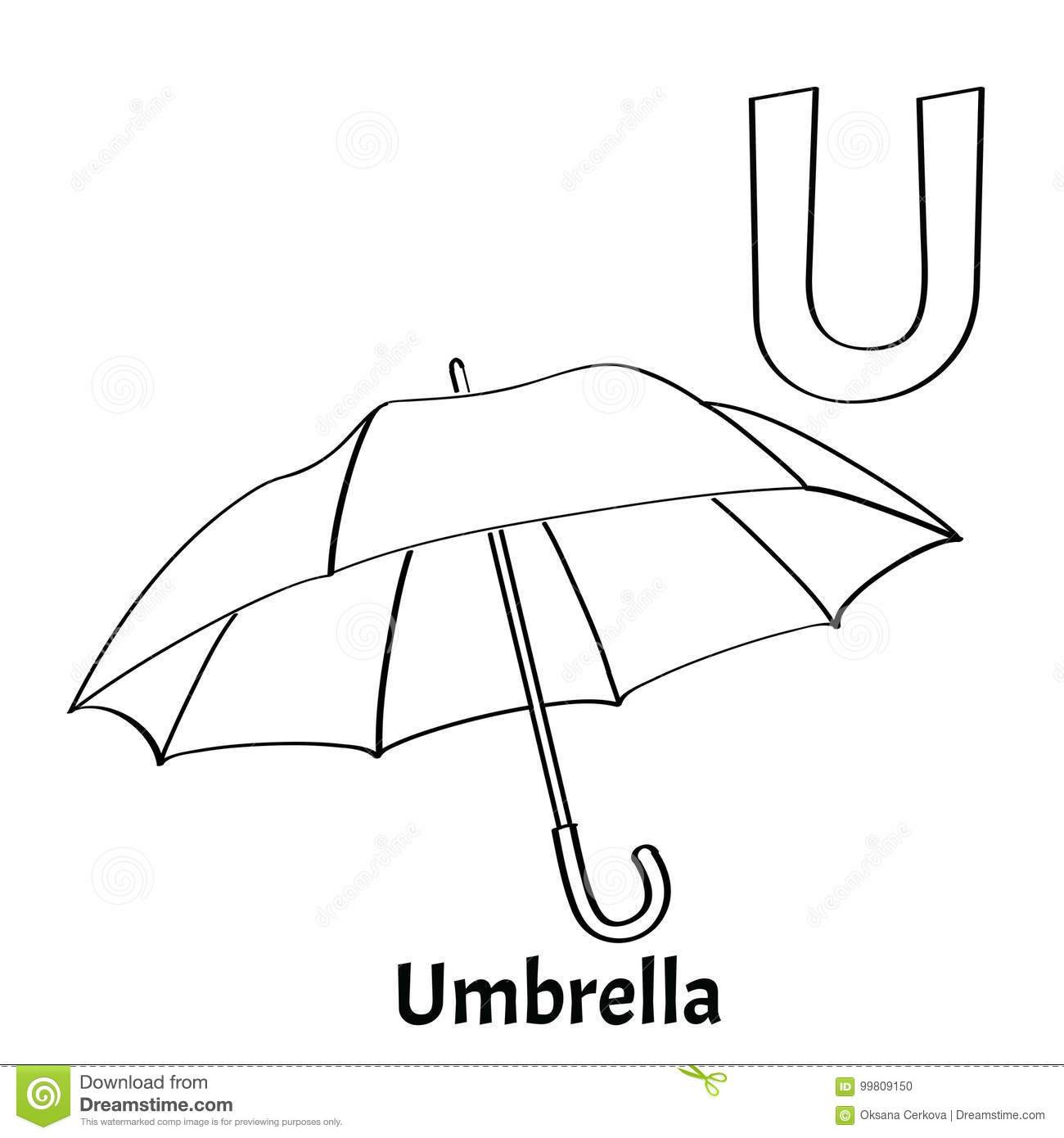 Vector Alphabet Letter U Coloring Page Umbrella Stock