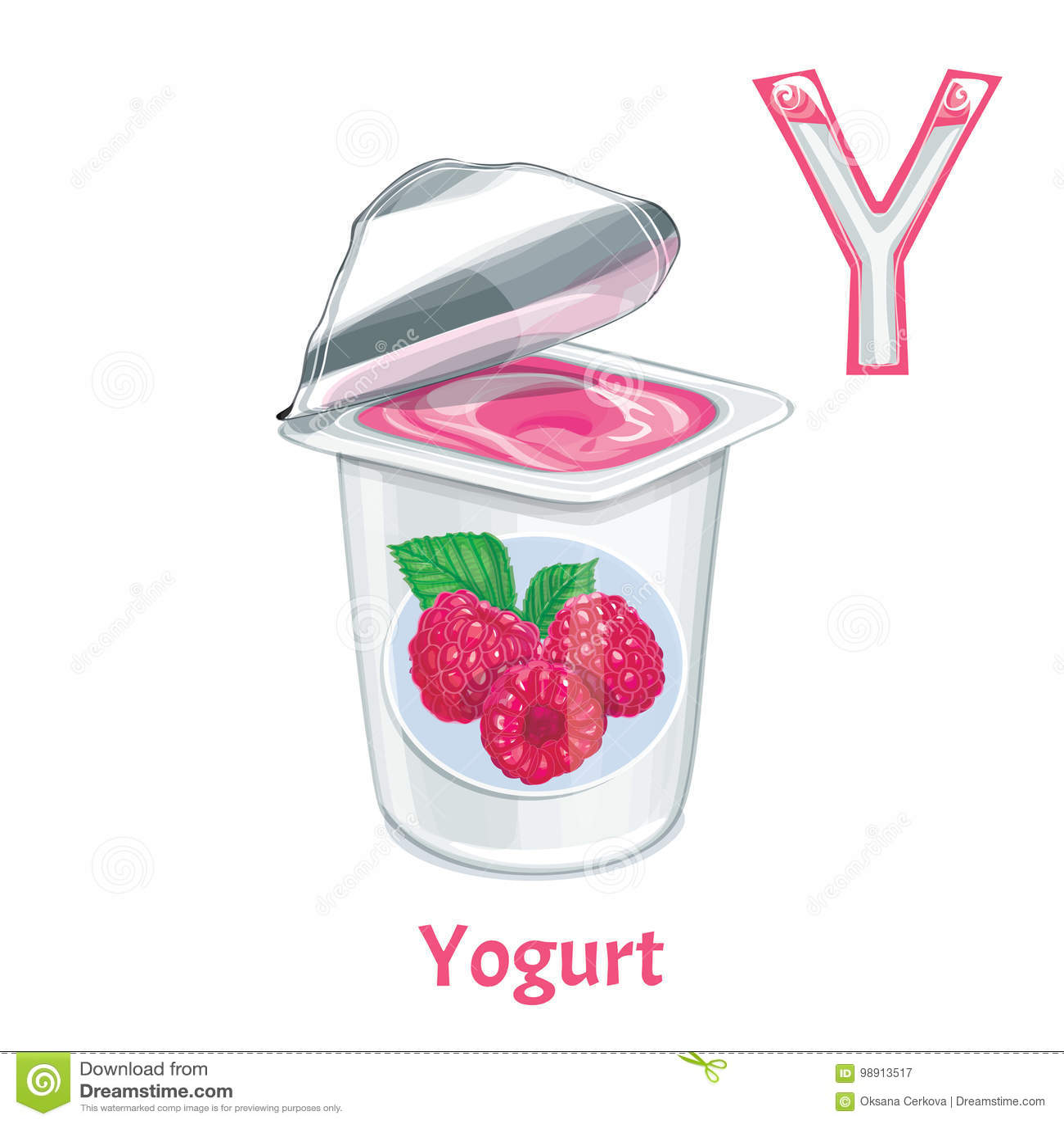 Vector Alphabet Letter Y Yogurt Stock Vector