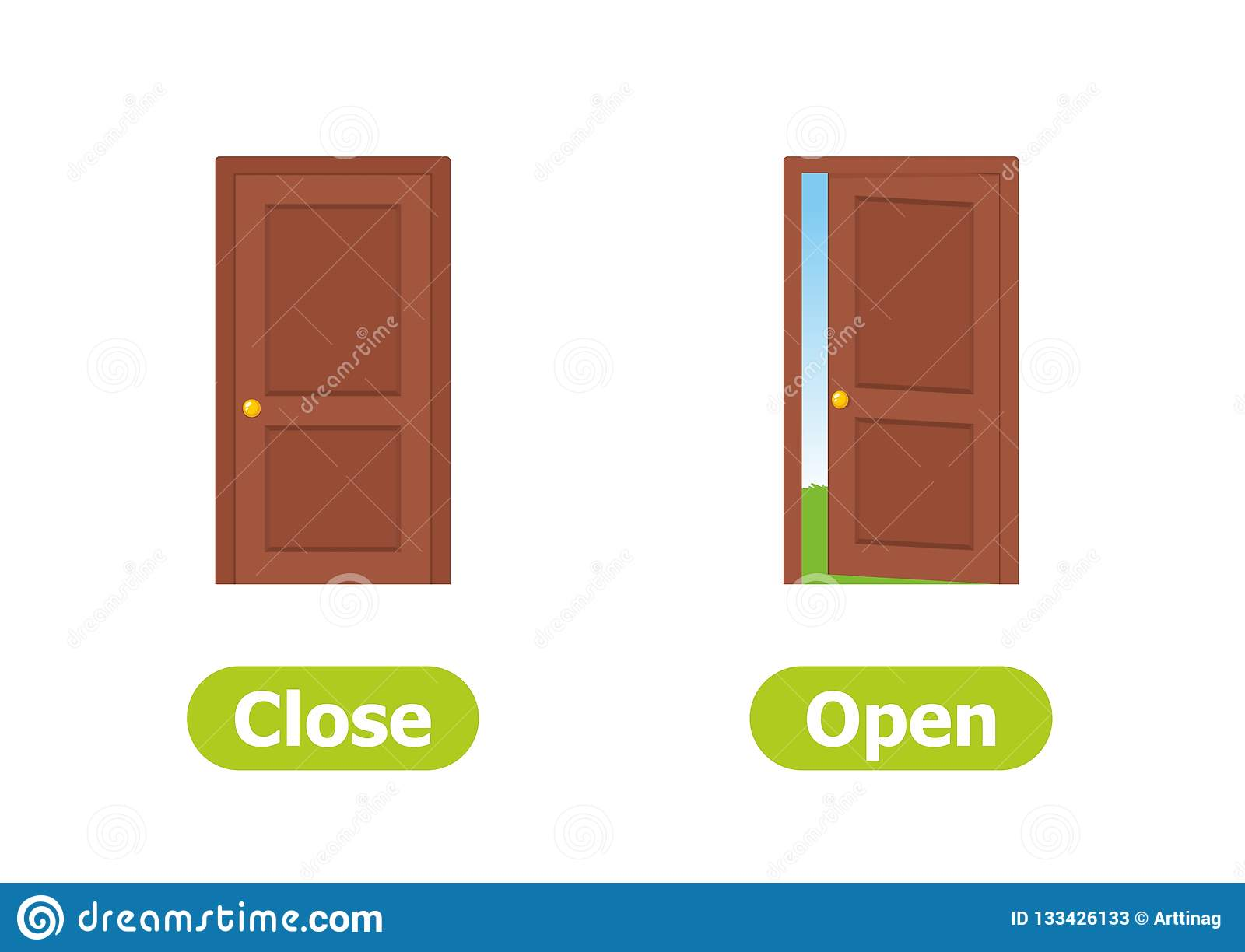 Vector Antonyms And Opposites Close And Open Stock
