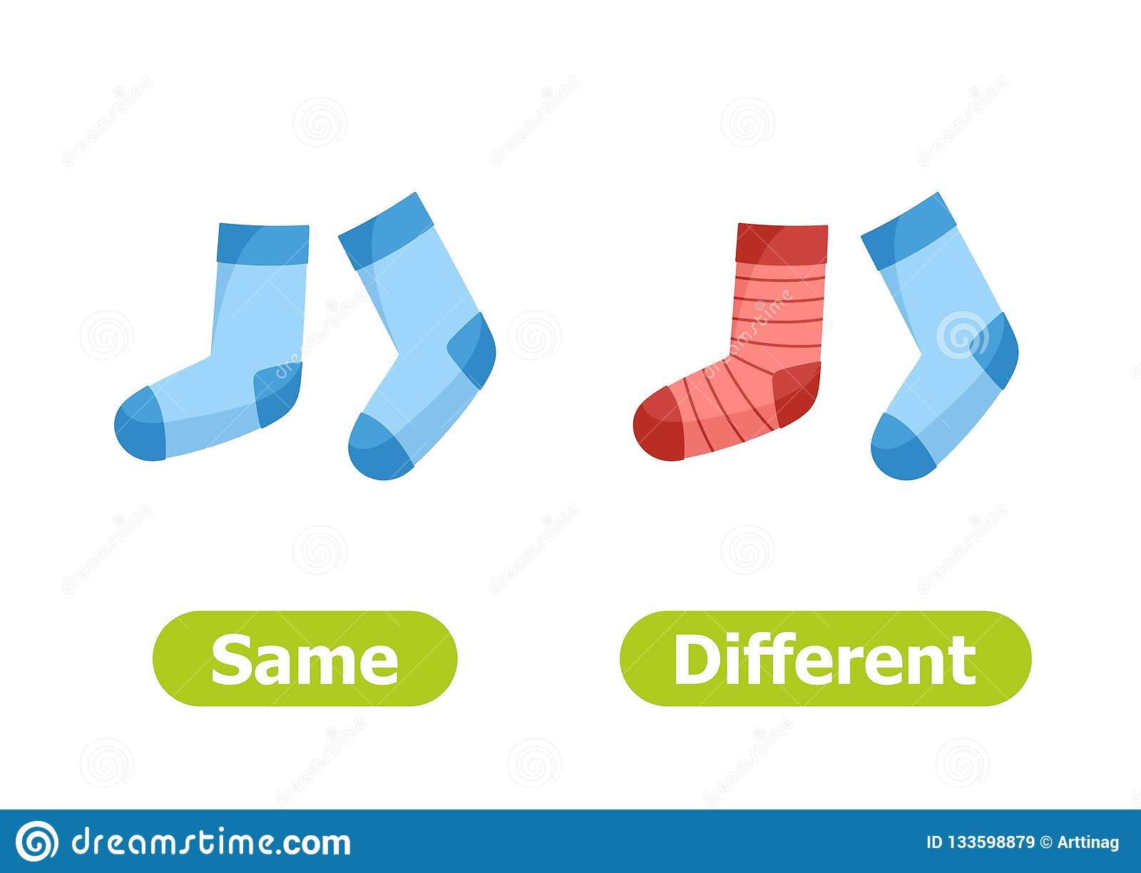 Vector Antonyms And Opposites Same And Different Stock