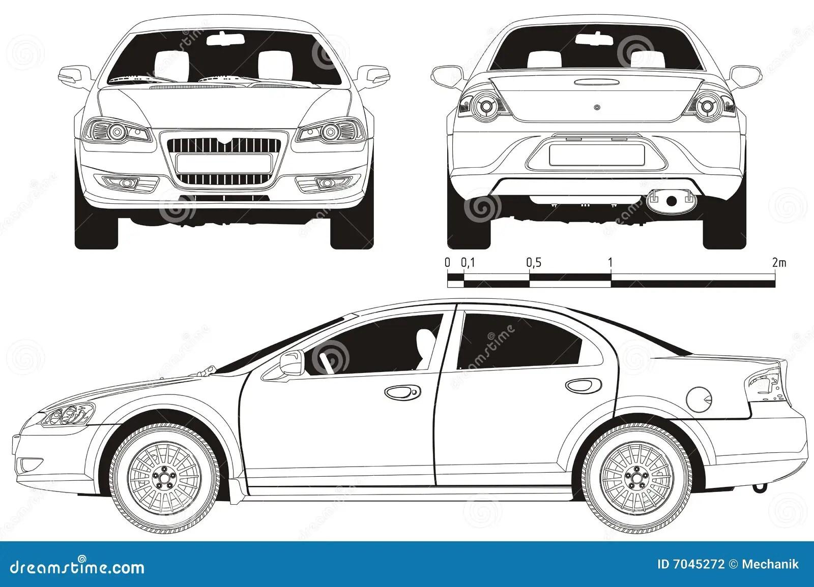 Vector Auto Technisch Ontwerp Vector Illustratie