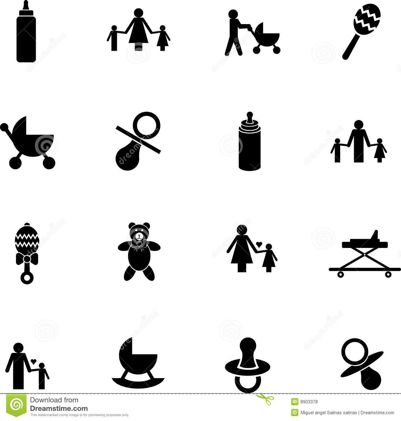 Vector Baby Items Symbol Set With Bottles Toys Etc Stock