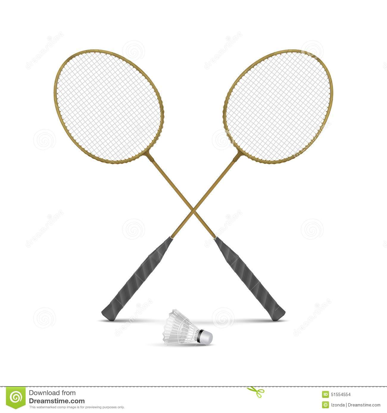 Vector Badminton Rackets With Shuttlecock Isolated Stock