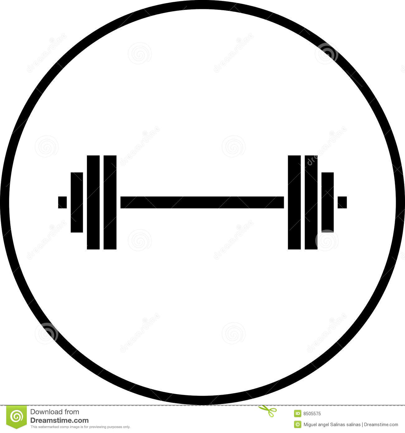 Vector Barbell Gym Weights Symbol Illustration Stock