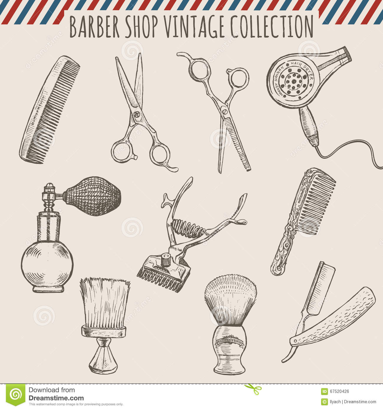 Vector Barber Shop Vintage Tools Collection Pencil Hand