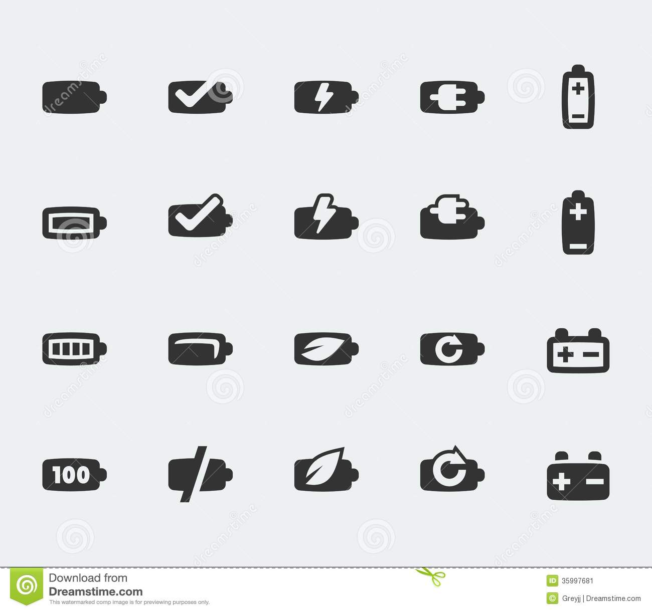 Vector Battery Icons Set Stock Image