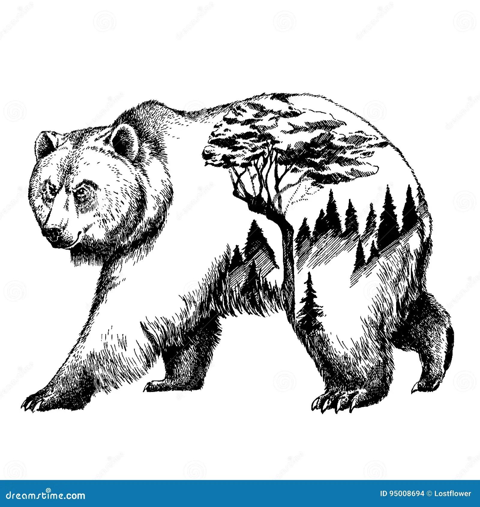 Vector Bear Double Exposure Tattoo Art Canada Mountains