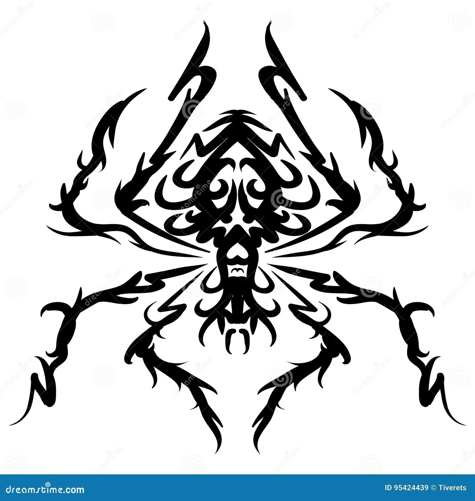 Spider Tribal Tattoo Cartoon Vector