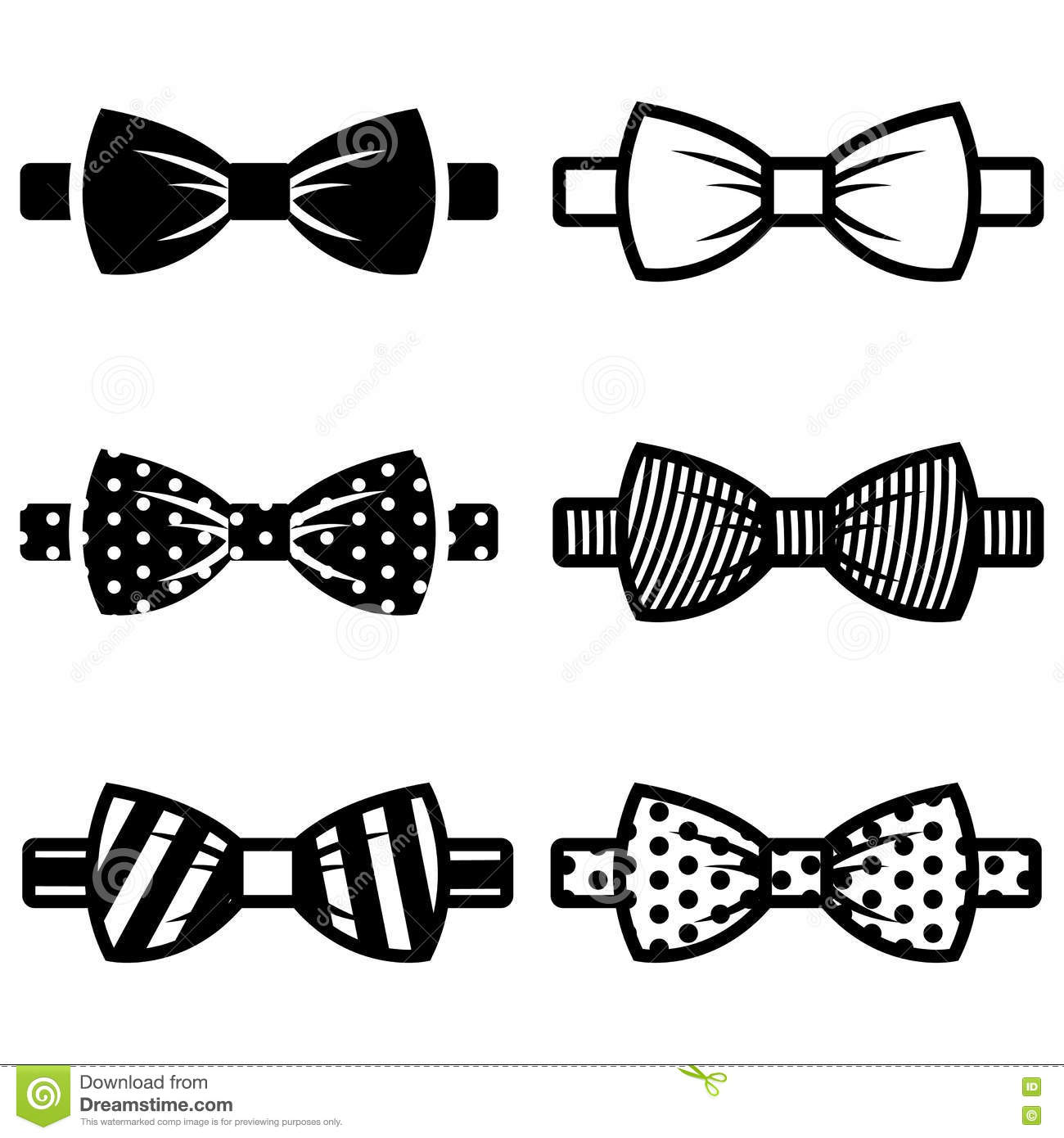 Vector Black Bow Ties Icons Set Stock Illustration