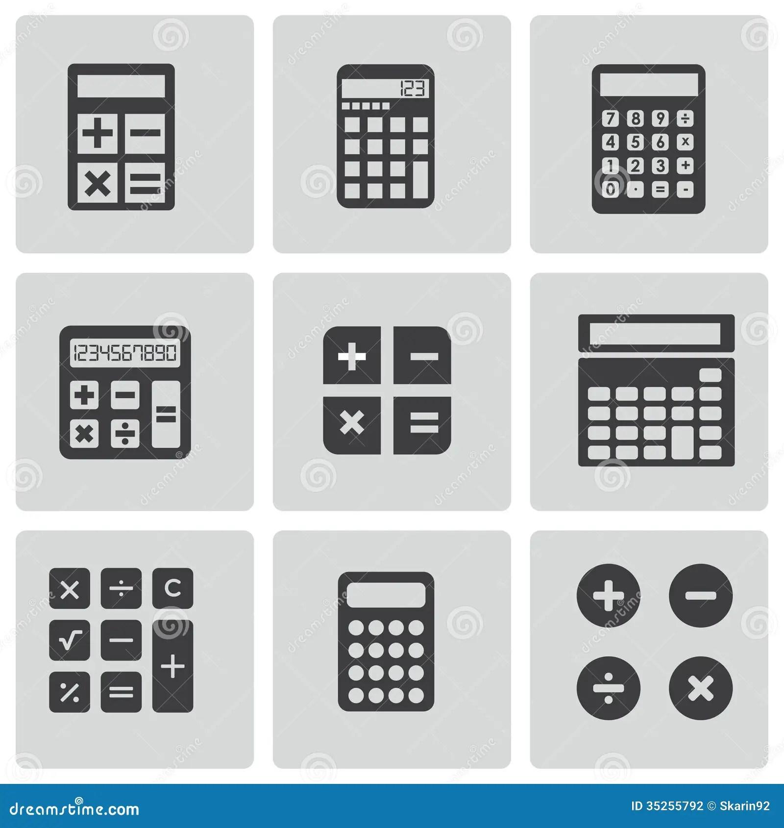 Vector Black Calculator Icons Set Stock Photography