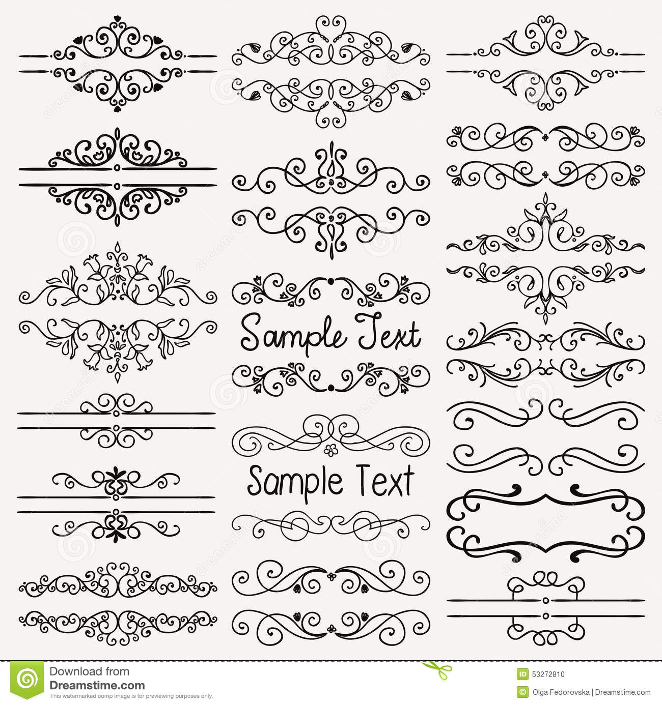 Vector Black Hand Drawn Dividers Frames Swirls Stock