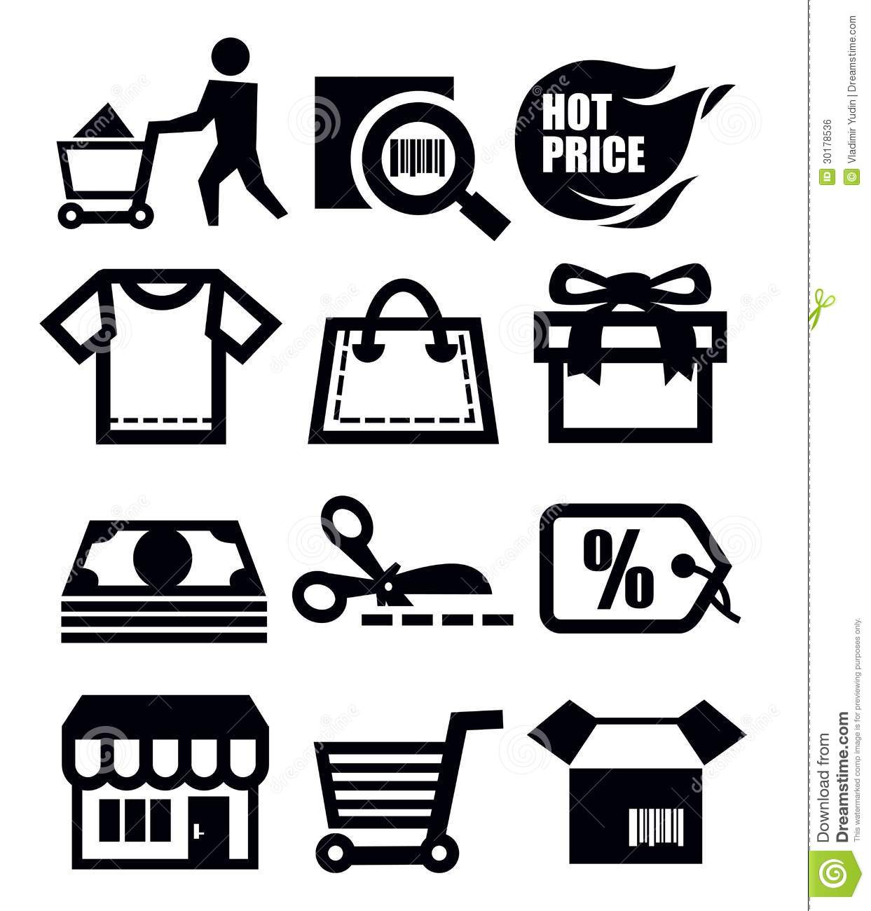 Shopping Icons Stock Vector Illustration Of Sign
