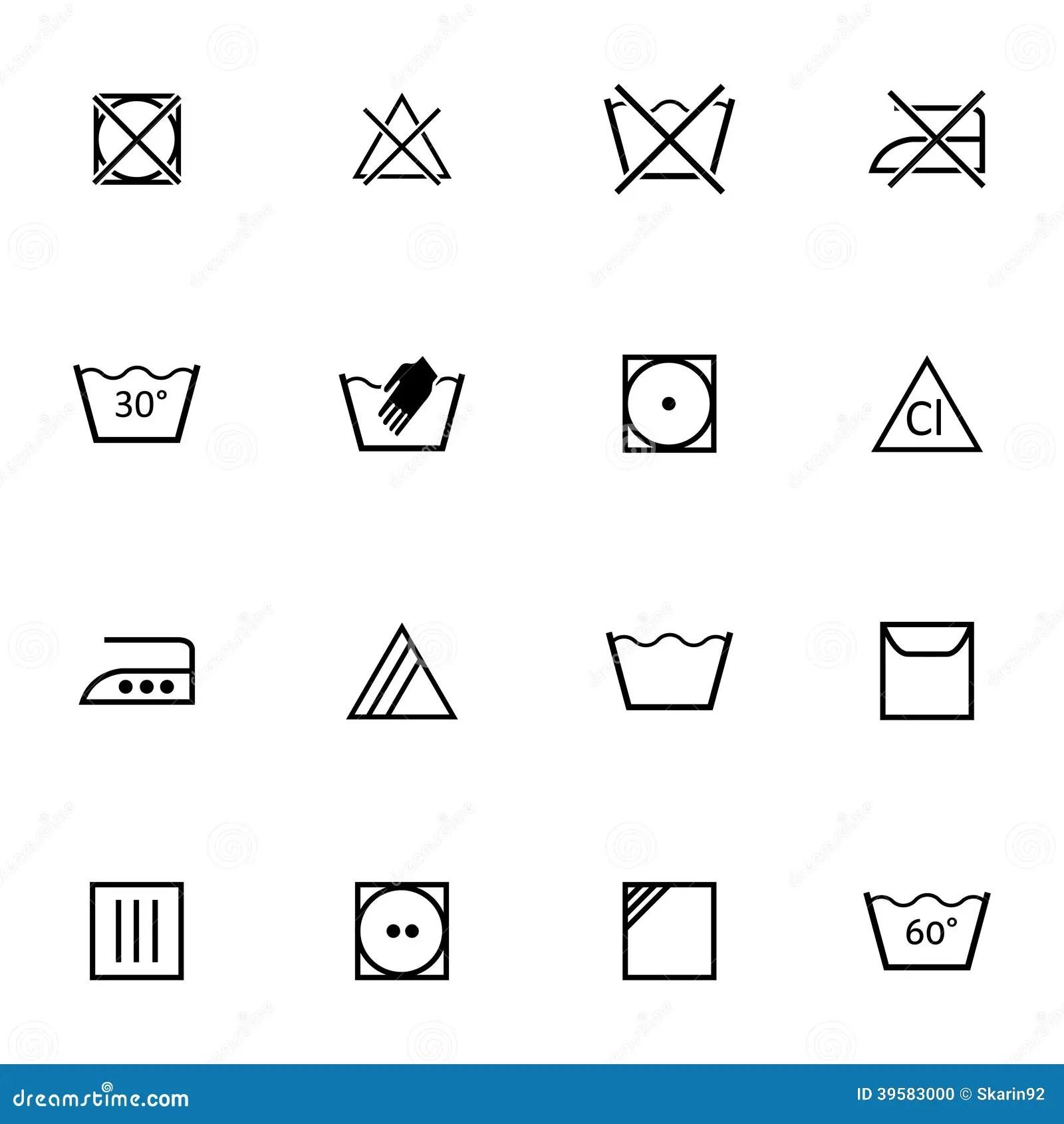 Vector Black Washing Icons Set Stock Vector