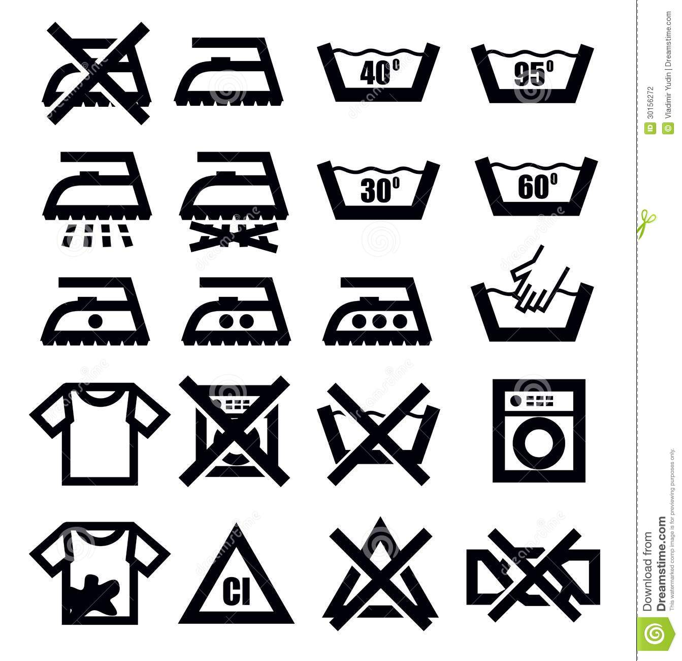 Washing Signs And Clothes Stock Vector Illustration Of
