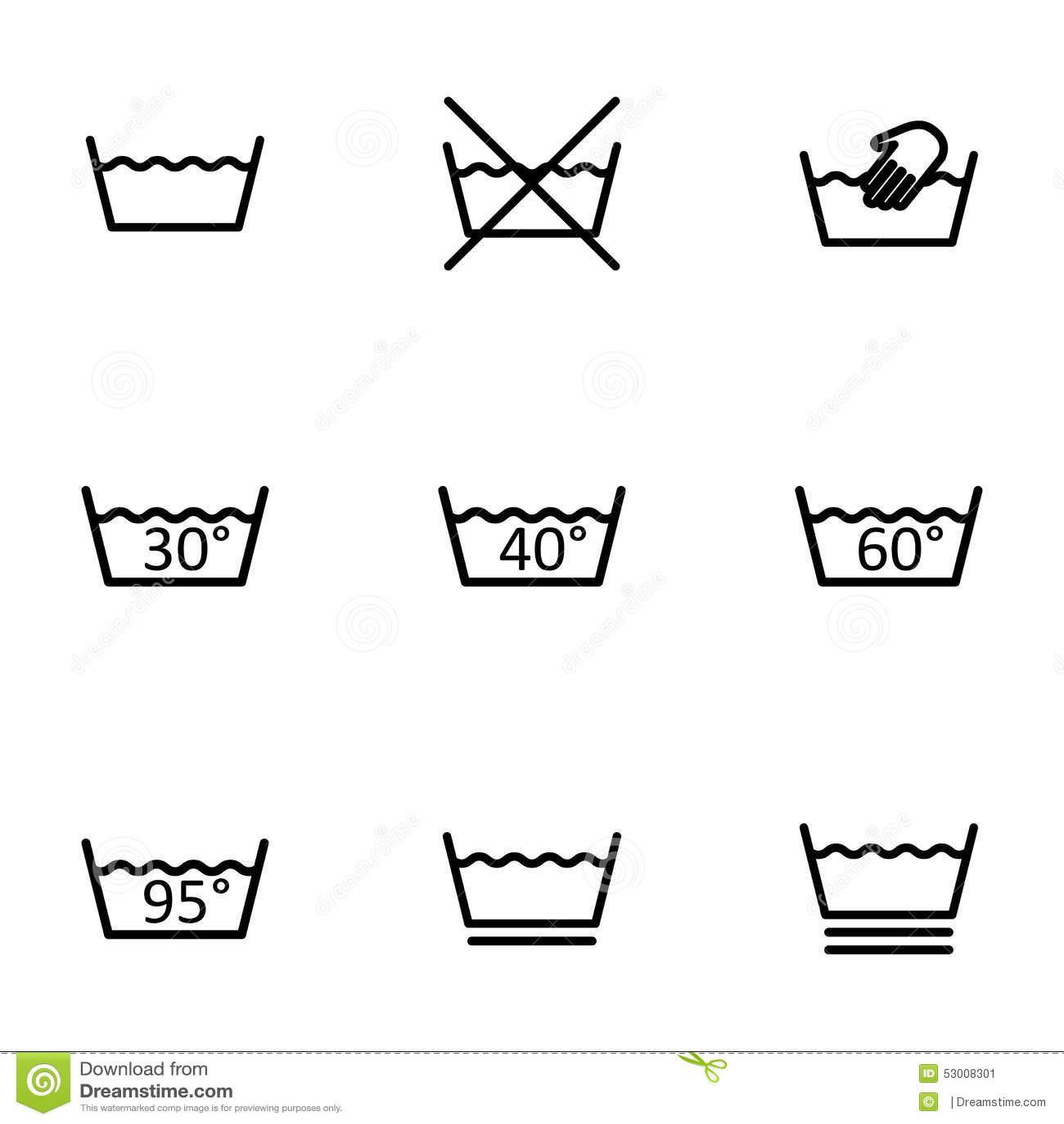 Vector Black Washing Signs Icon Set Stock Vector