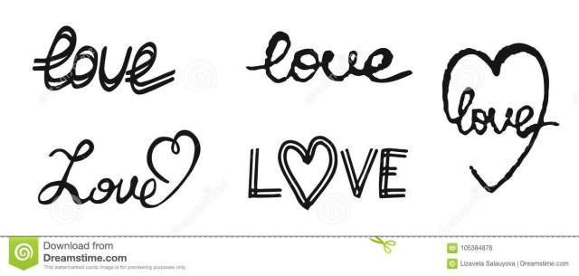 Hand Write Text Love. Design Elements For Valentine Day. Stock