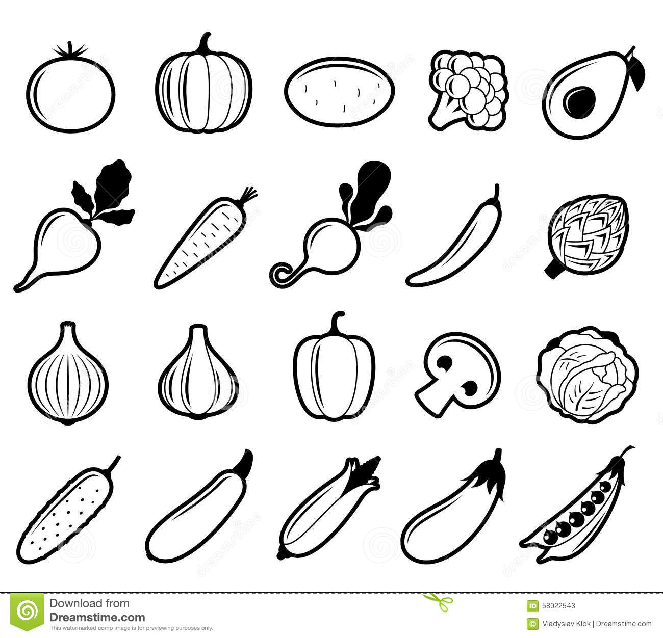 Vector Black And White Vegetables Icons Stock Vector