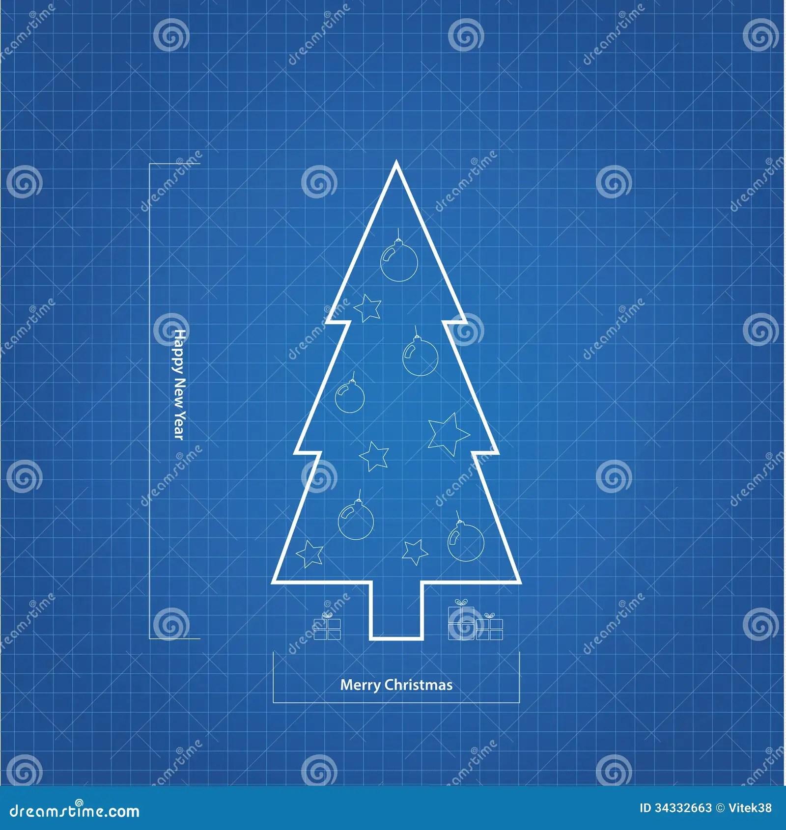Vector Blueprint Christmas Tree Stock Vector