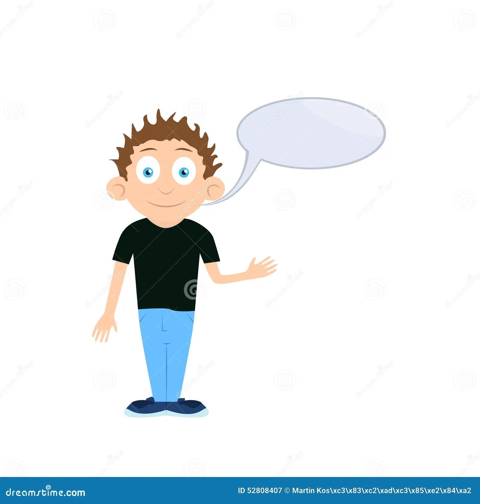 Vector Boy Cartoon Character Talking With Empty Stock