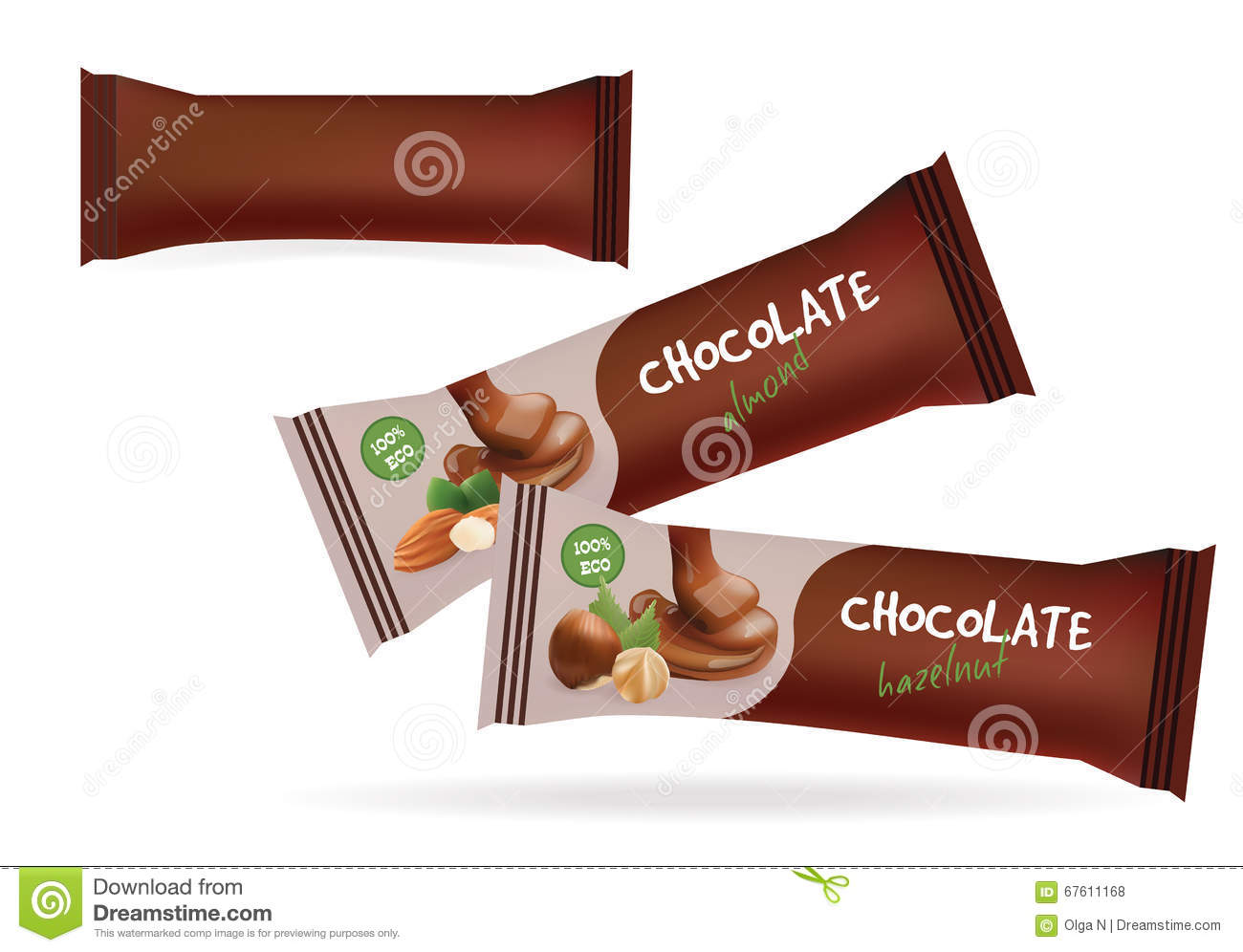 Vector Brown Blank Food Packaging For Biscuit Wafer