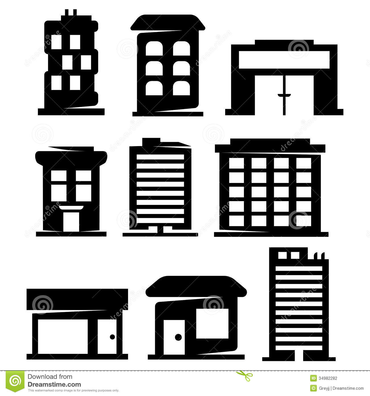 Vector Buildings Silhouettes Stock Vector