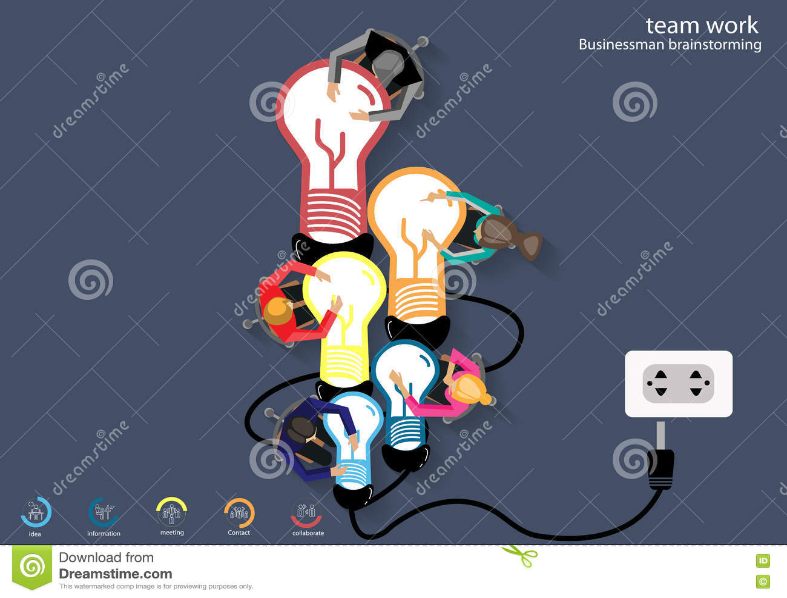 Vector Business Teamwork Brainstorming Ideas For A Lamp