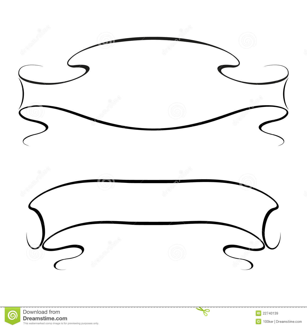 Vector Calligraphy Ribbon Frame Banner Royalty Free Stock