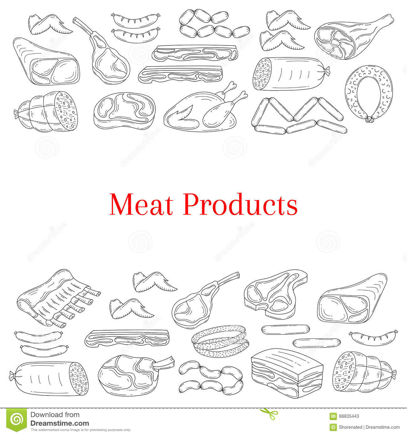 Vector Illustration With Different Kinds Of Meat Cartoon