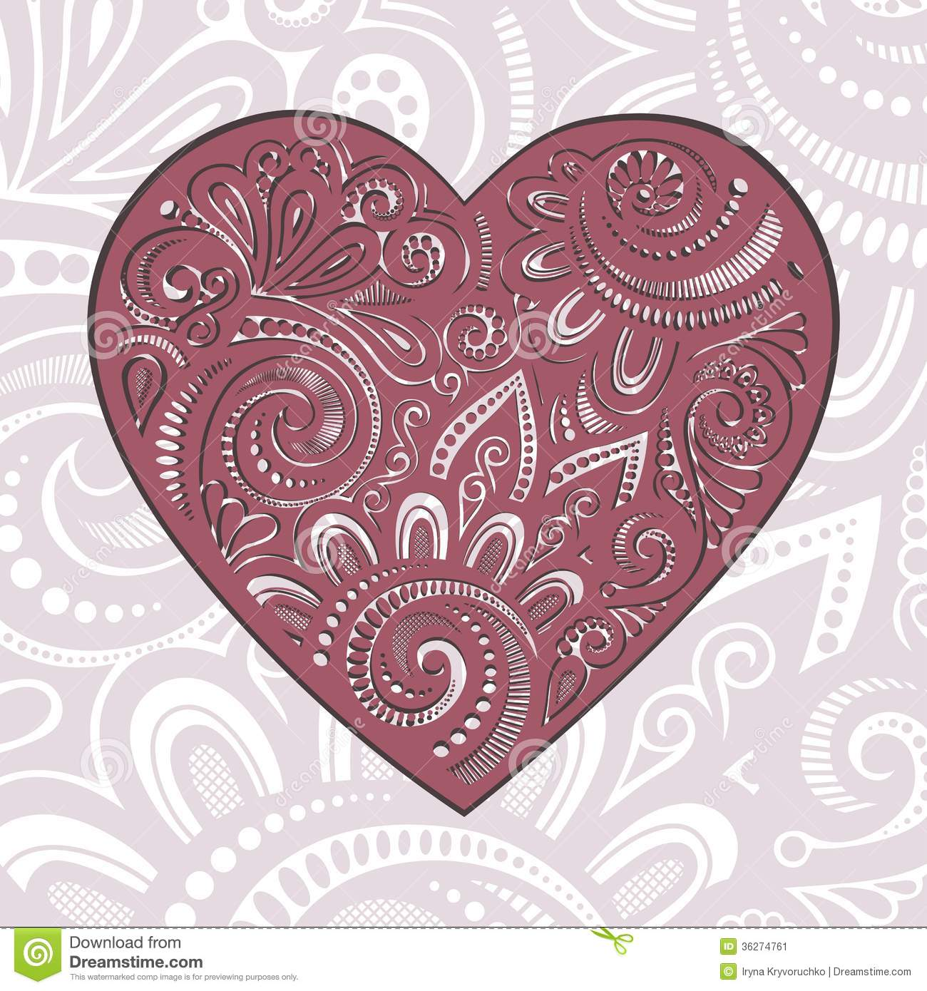 Vector Card Vintage Card With Heart Stock Image Image