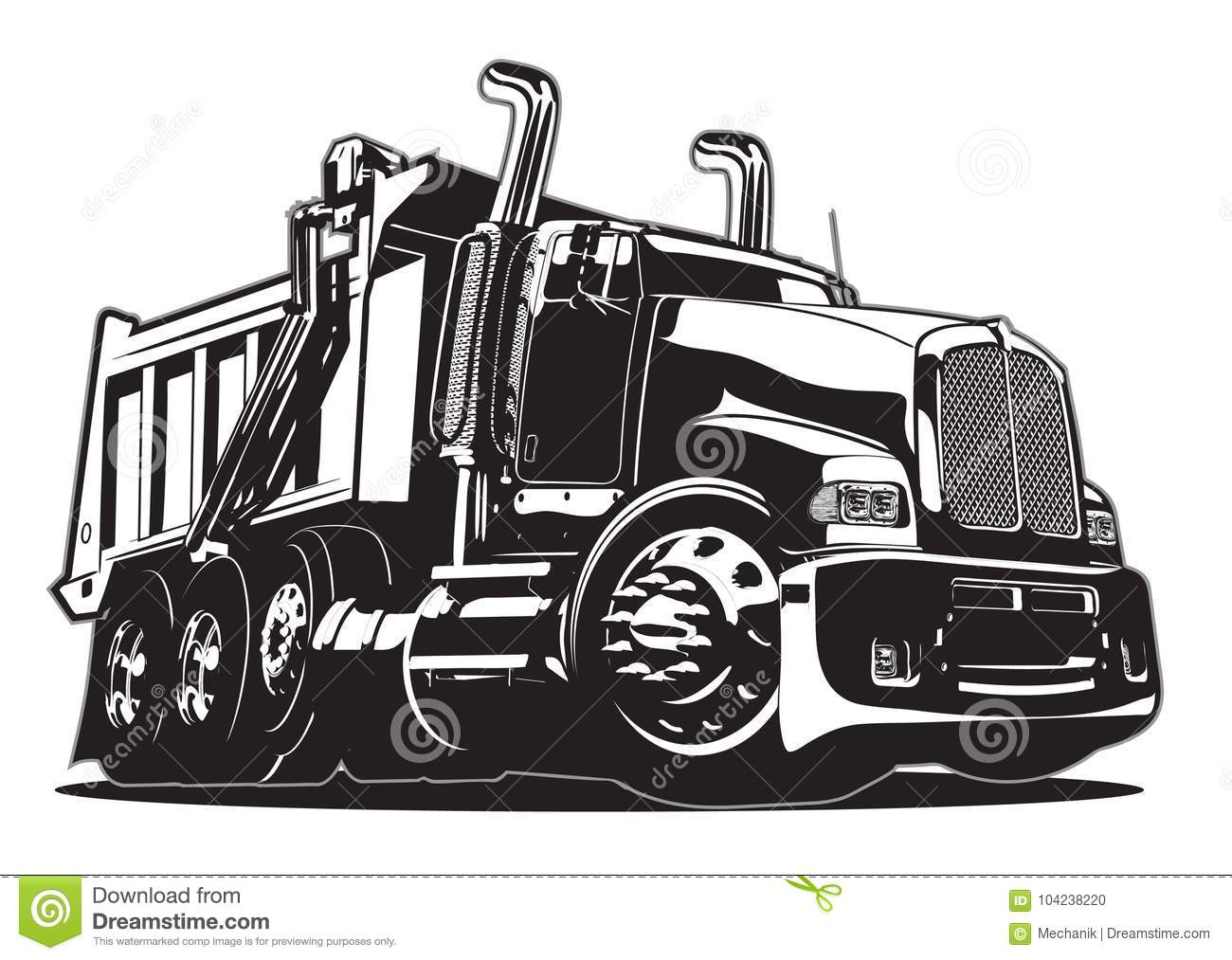 Vector Cartoon Dump Truck Stock Vector Illustration Of