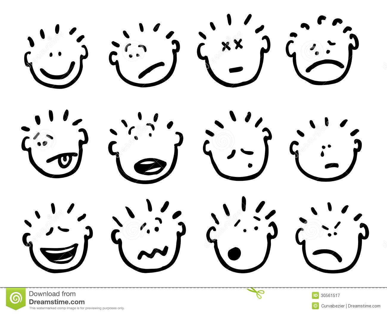 Vector Cartoon Faces And Emotions Stock Illustration