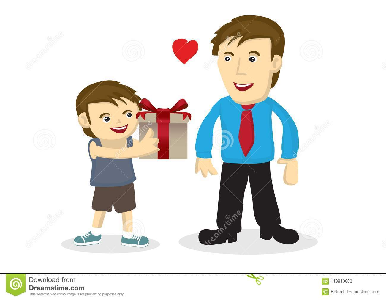 Vector Cartoon Illustration A Child Giving A T To His
