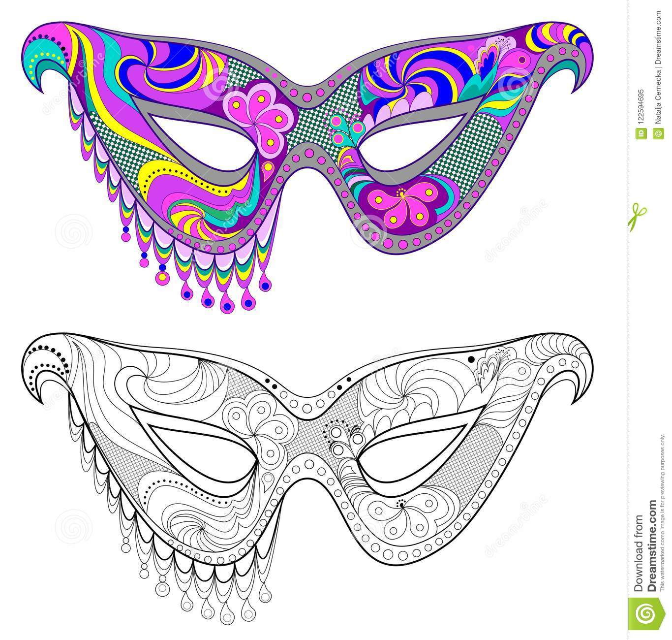 Colorful And Black And White Pattern For Coloring Fantasy