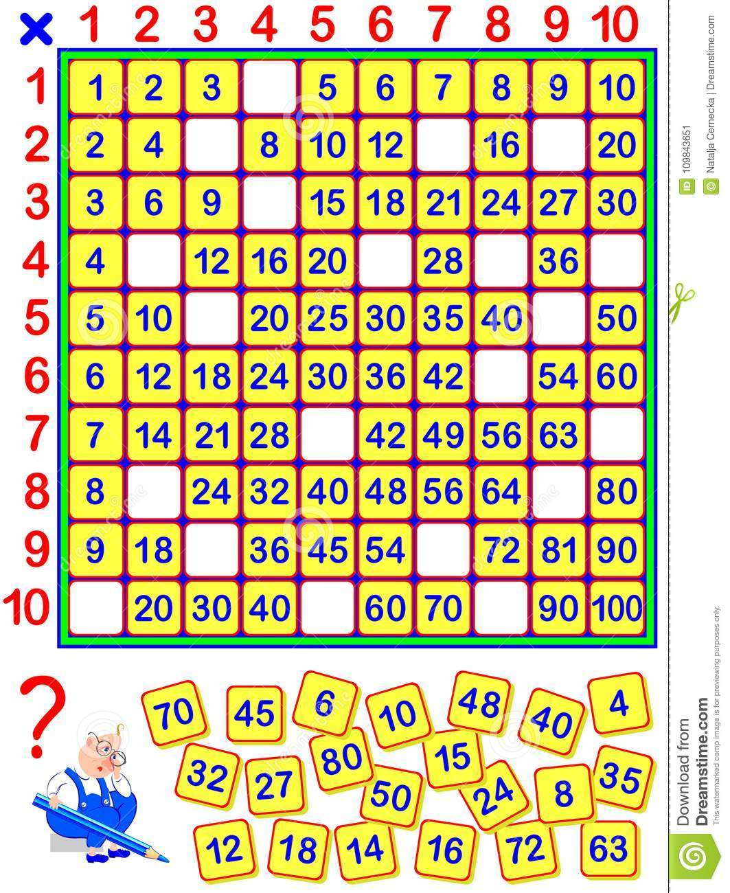 Educational Page For Children Some Numbers Have Fallen Out Of The Multiplication Table Write