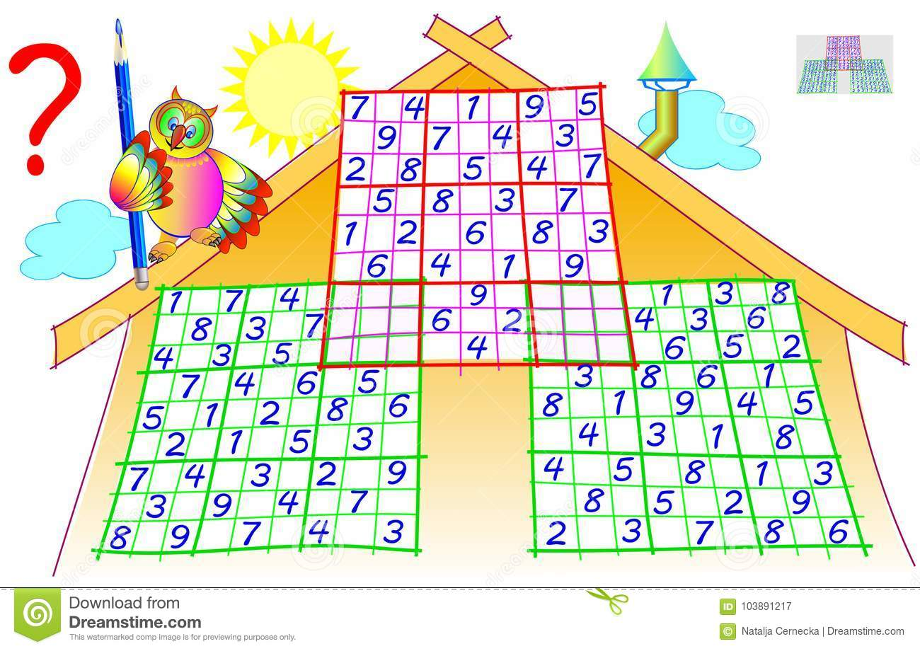 Logic Puzzle With Sudoku Game Worksheet For Children And