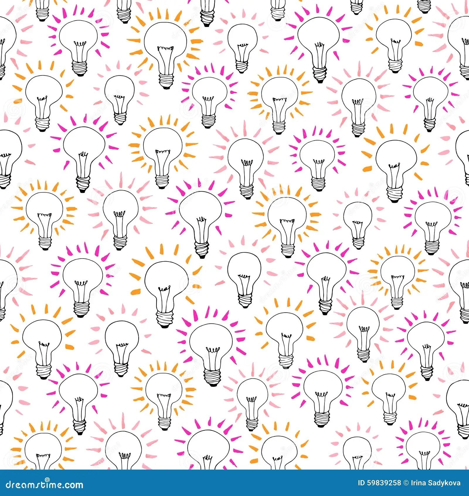 Vector Cartoon Light Bulb Idea Seamless Pattern Stock