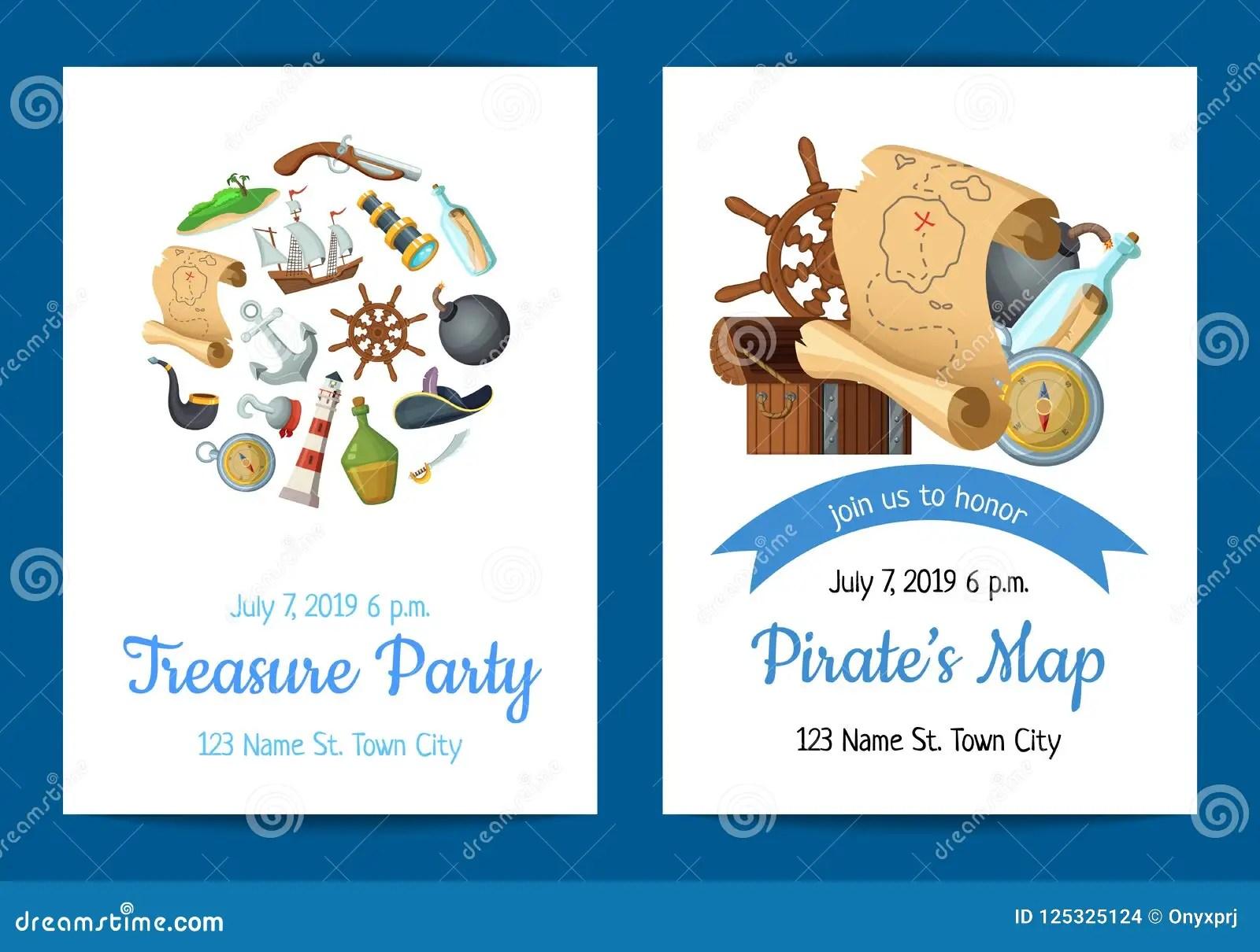https www dreamstime com vector cartoon sea pirates birthday party invitation template illustration pirate party invitation poster adventure ocean image125325124