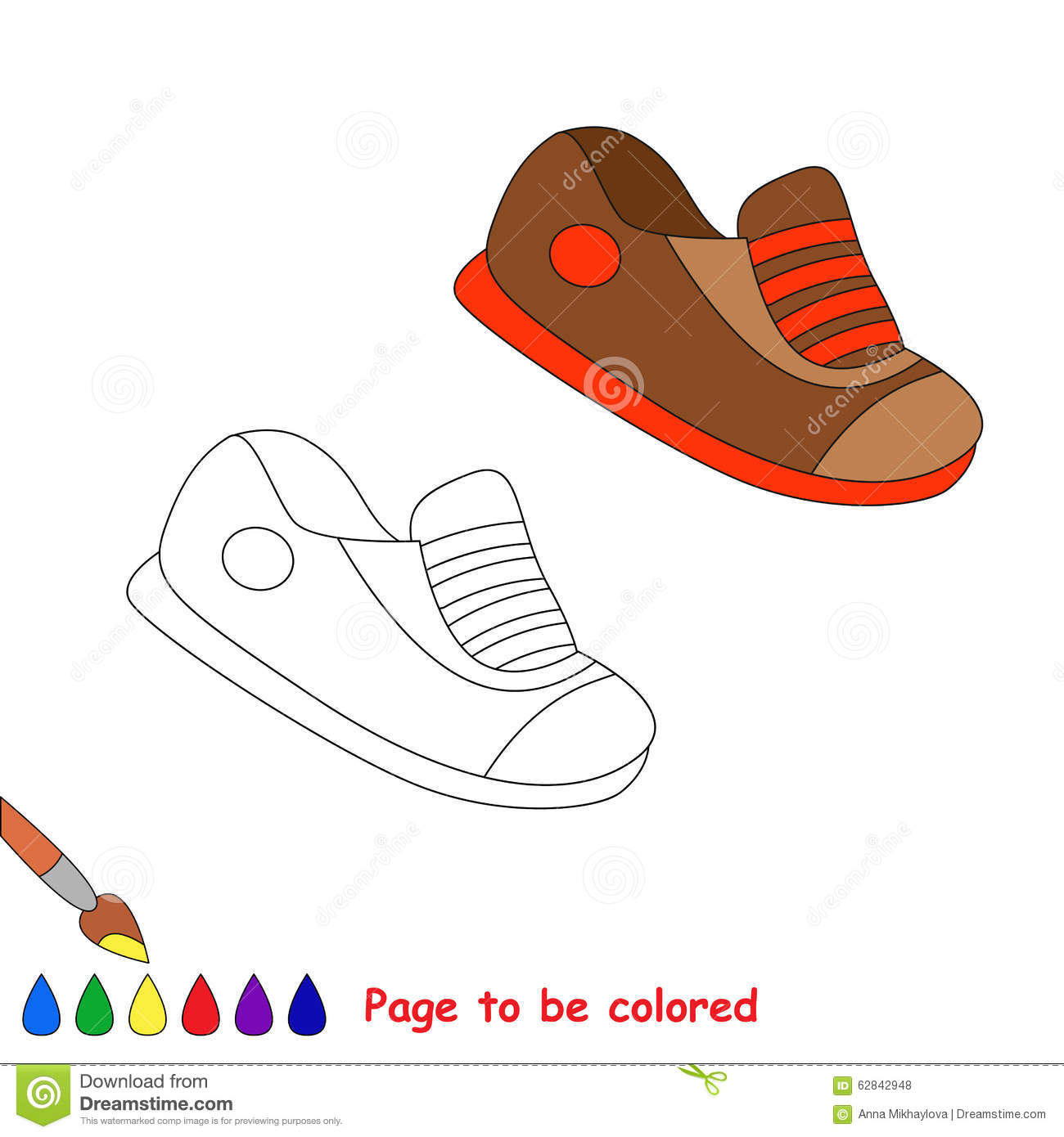 Vector Cartoon Shoes To Be Colored Stock Vector