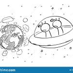 Vector Cartoon Illustration Of Funny Aliens In Ufo Or Flying Saucer Watching From Space Nuclear War Explosions On Planet Stock Vector Illustration Of Drawing Vector 197217422