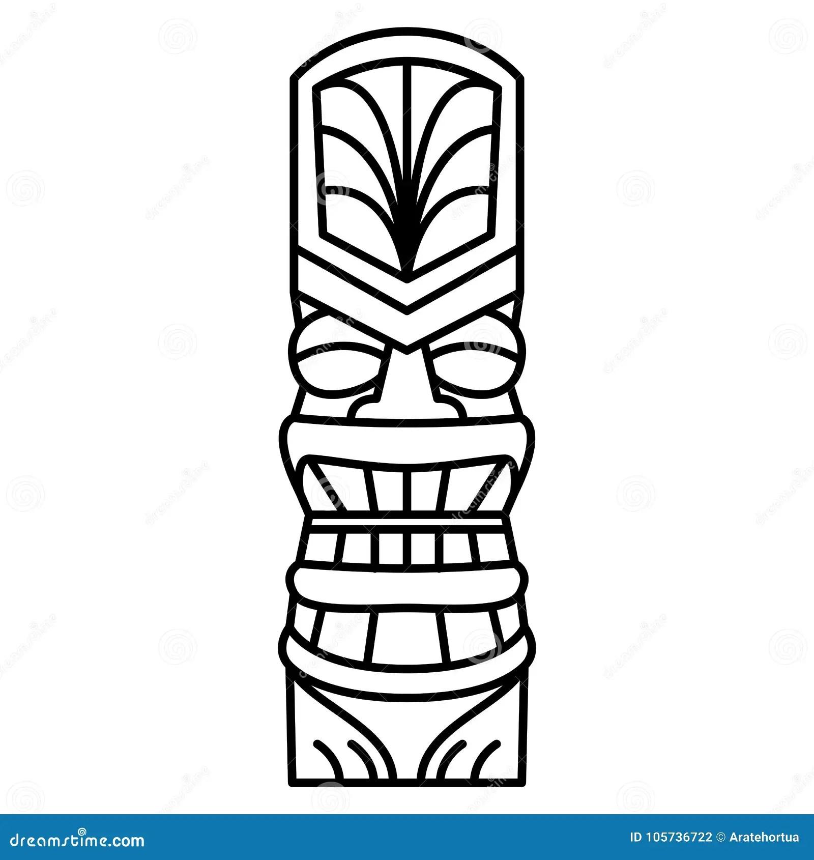 Cartoon Tiki Idol Isolated On White Background Stock
