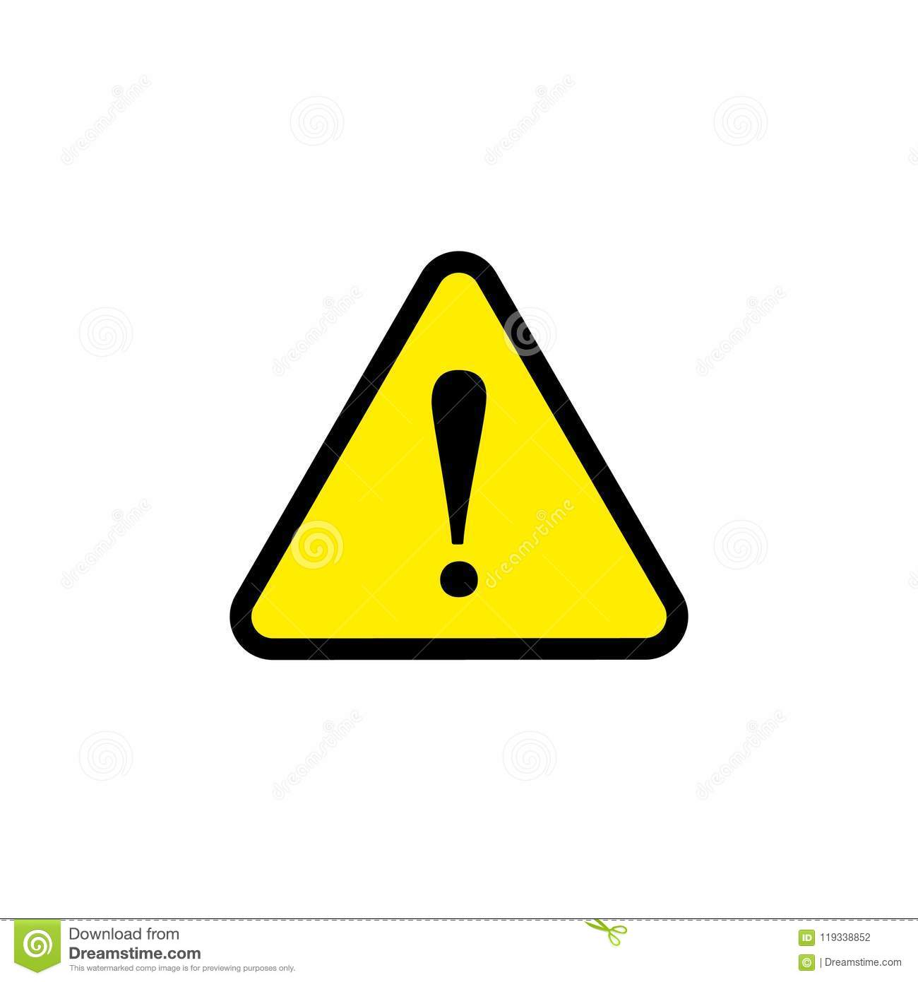 Vector Caution Danger Sign Yellow Triangle Flat Icon