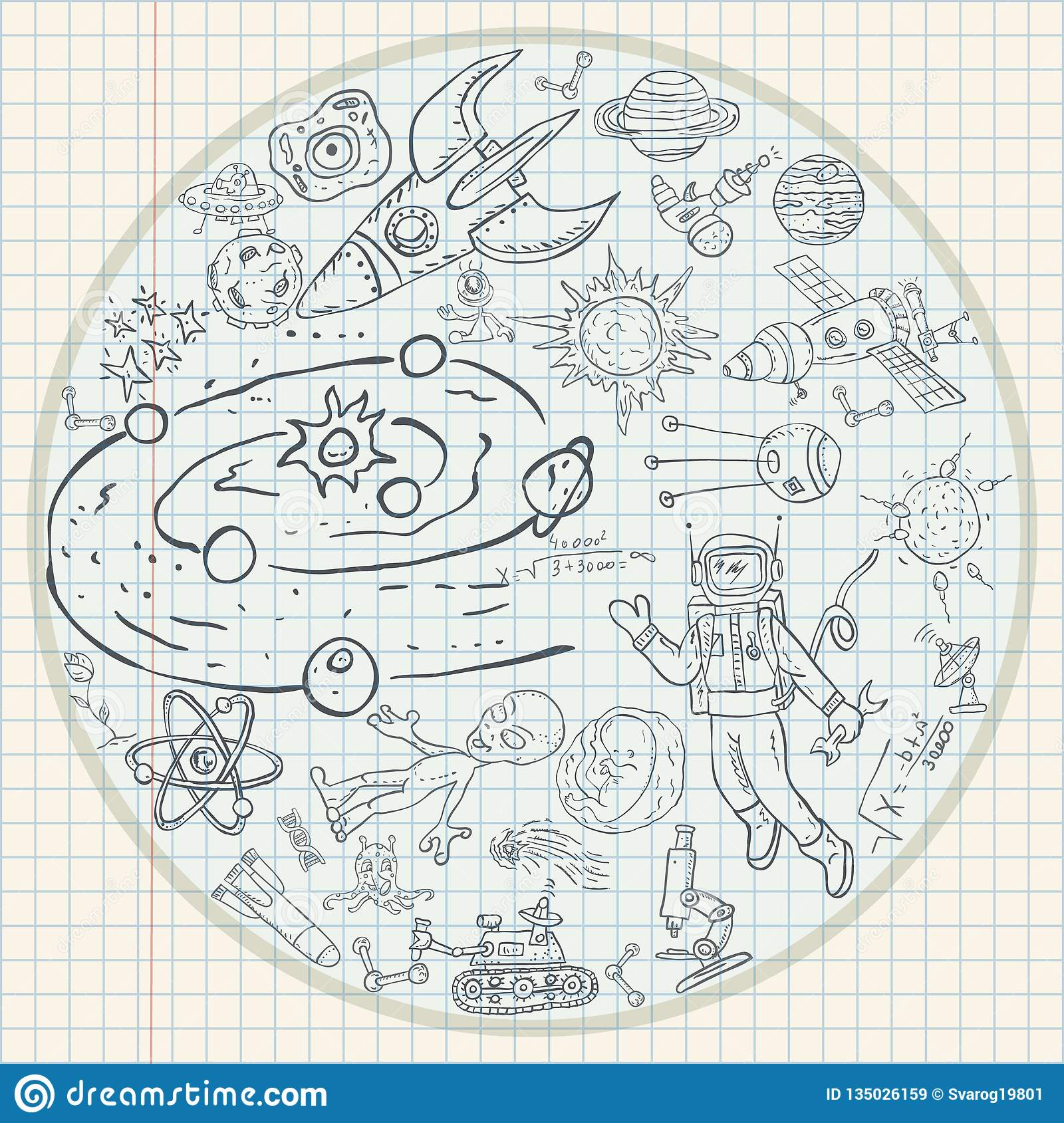 Childrens Drawings Coloring 2 Pages On Space Theme