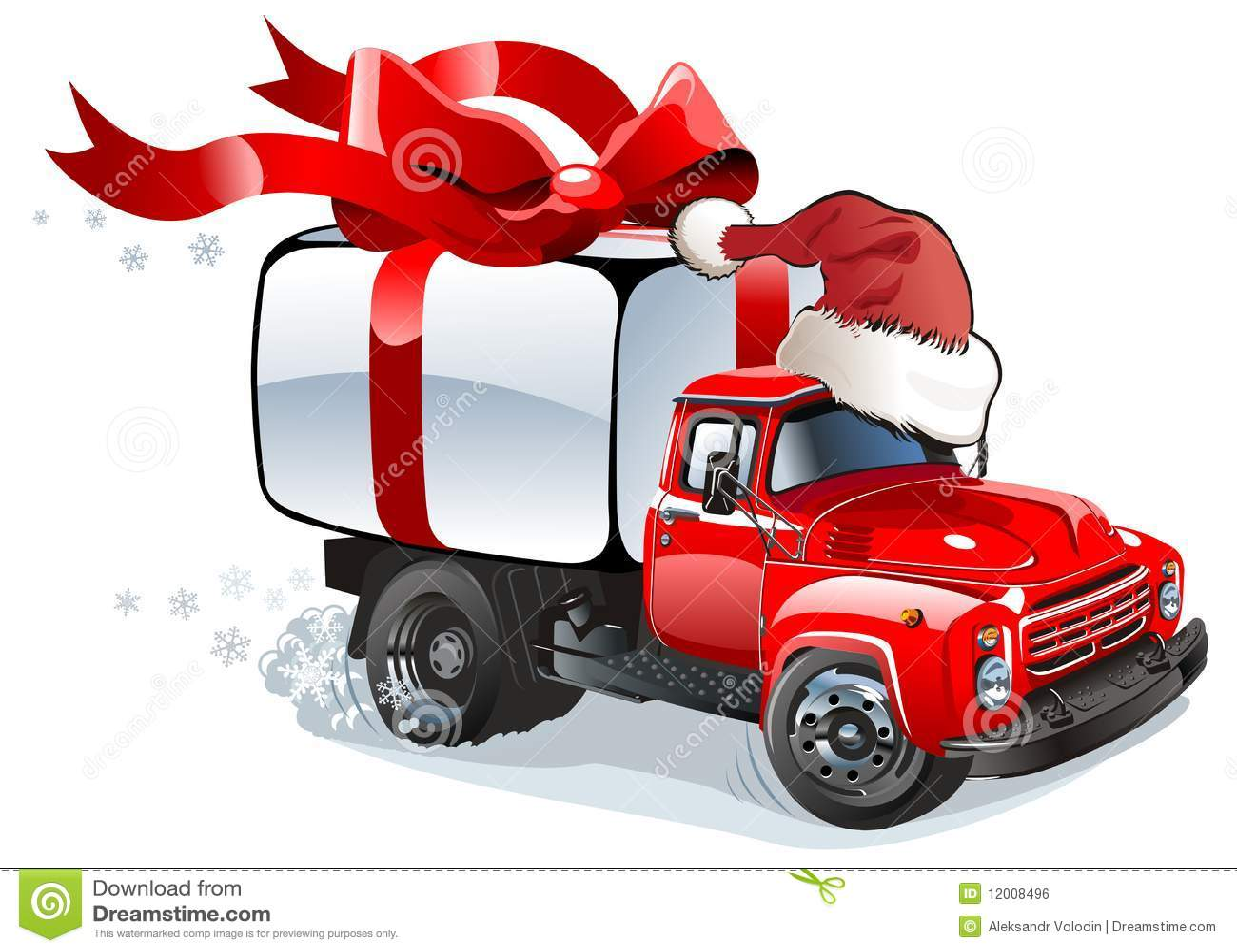 Vector Christmas Delivery Cargo Truck Stock Vector