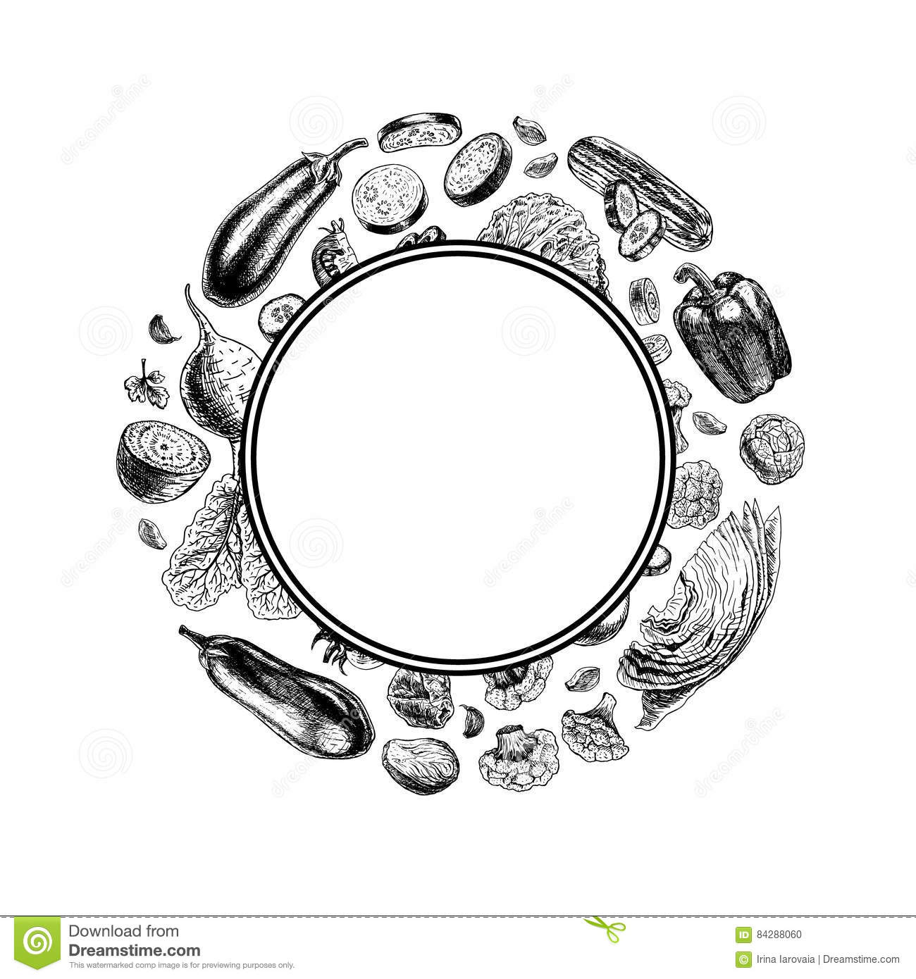 Black And White Vegetables Frame Cartoon Vector