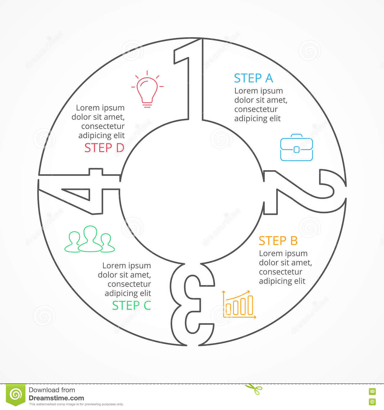 Vector Circle Numbers Linear Infographic Cycle Diagram
